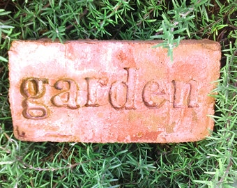 Handmade Stamped Cement Garden Word Stone MEDIUM: Personalize for Herbs, Veggies, Flowers, Name, Date, Address, Year