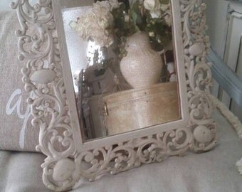 Very old heavy ornate iron Shabby Chic Cottage Charming Victorian Dresser Mirror Paris Apt French Country Wedding Baby Nursery Decor