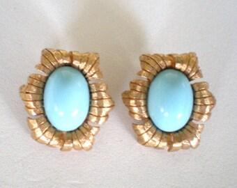 Vintage Jomaz  Earrings Clip Blue Stone Gold