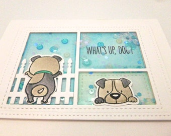Dog Lover, Thinking of You, Any occasion card,  Dog Walker card, Shaker Card with sequins, Adorable puppy card