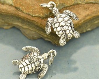 1pc~Sterling Silver Sea Turtle Charm