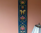 """Sale - Vtg. Hand Hooked Bell Pull Wall Hanging Tapestry Floral Geometric 37"""""""