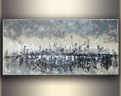 "Black and White Art Original Painting Large Abstract Painting Acrylic Painting Silver Painting large art Large Wall Art 24x48"" Tatjana"