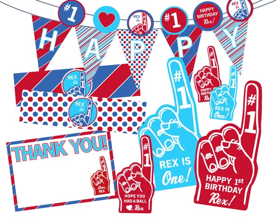 Foam Finger Party Pack 1st Birthday // Your Choice Printable or Printed