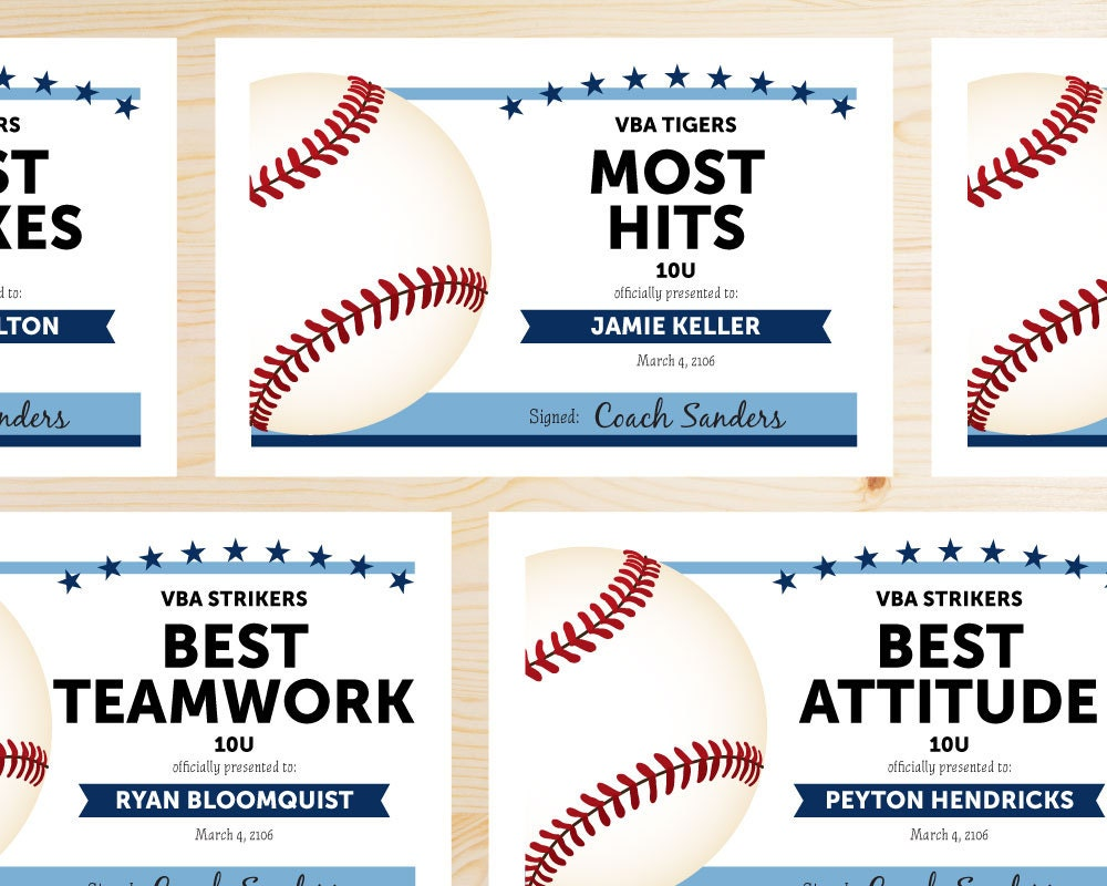 baseball certificates templates free - editable baseball award certificates instant download