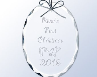 Babys First Christmas Engraved Crystal Christmas Ornament