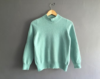Pure Cashmere Turtleneck Sweater in Seafoam Green XS