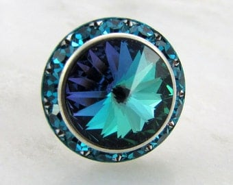 Aqua Rainbow on Blue Zircon Swarovski Crystal Ring Adjustable Silver Halo
