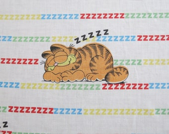 Sleeping Garfield the Cat - Vintage Childrens Sheet - Twin or Single Flat Sheet