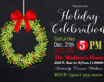 Holiday Party Wreath Christmas Party invitation Black Chalkboard / Printable PDF / JPG /  Print at Home