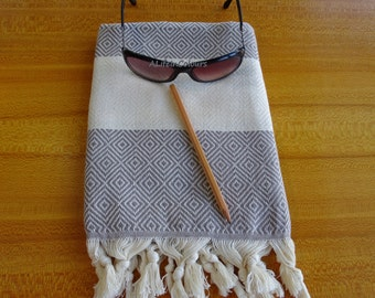 Turkish khaki brown colour diamond patterned soft cotton face and hand towel.