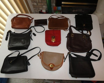 Lot Of 10 Vintage Leather Handbags Dooney & Bourke, 8 COACH Bags 1 Wallet (9087, 9966, 9163, 9814, 9816, 4785-441, 2 New York City Bags)