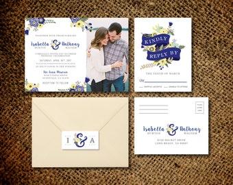Floral Wedding Invitation & RSVP Postcard - Rustic Wedding - Botanical Bohemian Inspired - Printable DIY