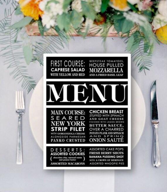 Modern Wedding Menu Card Custom - One, Two, or Three Course Menu - Wedding, Party, Celebration, Event - DIY Printable