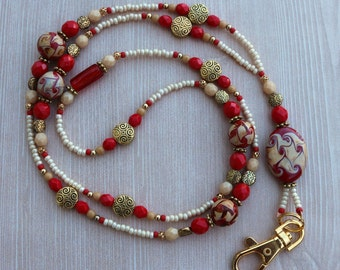 Lampwork Glass Beaded Lanyard ID Badge Holder  – CRIMSON WAVES – W122