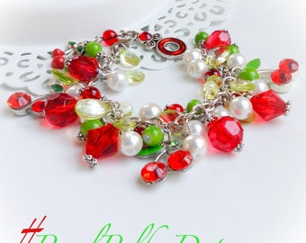 Cherry Cluster Bracelet Green Red Fruit Charm Jewelry OOAK On Sale