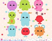 80% OFF - INSTANT DOWNLOAD, kawaii monster clipart and vectors for personal and commercial use