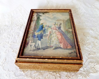 Vintage Wood Mirrored Jewelry Box