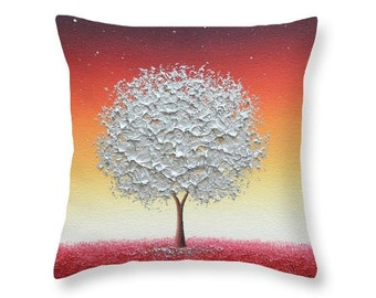 Silver Tree Pillow, Throw Pillow, Orange and Red Living Room Decor, Decorative Pillow Cushion, Couch Pillow, Fairytale Tree Bedroom Pillow