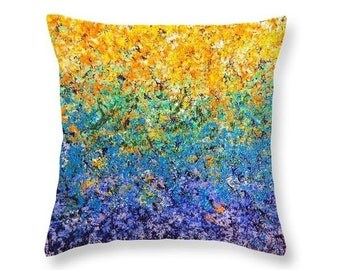 Boho Throw Pillow, Decorative Pillow for Couch, Living Room Decor, Abstract Art Accent Pillow, Art Pillow, Yellow and Blue Colorful Pillow