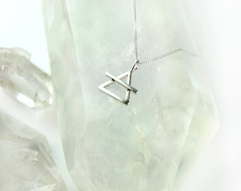 Sterling silver alchemical air symbol necklace