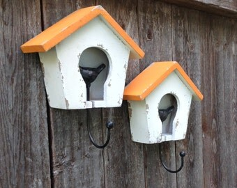 Birdhouse Wall Hooks - White Birdhouse - Cottage Chic Wall Decor