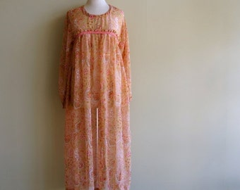 Floral Boho Festival Dress 1970s SMALL Earthy Gypsy Peasant Cover Up Over Dress Sheer Chiffon Peach Pink Rust Orange Green Hippie Midi Maxi