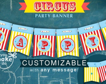 INSTANT DOWNLOAD circus banner, circus party, carnival party, baby shower boy, carnival, circus, carnival baby shower, 1st birthday party