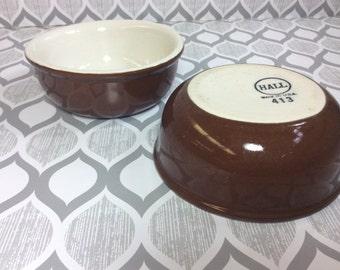 Brown Small Bowls Vintage Hall Pottery USA