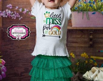 Little Miss Pot of Gold, Girl St. Patrick Shirt, St Patrick Day Shirt, First St. Patrick Day, Pot of Gold, St. Patrick Gift