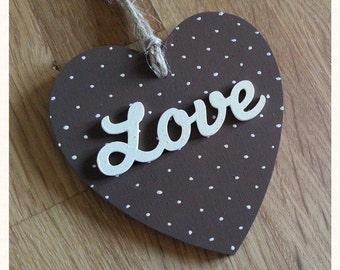 Dotty Love Heart - Brown & Cream