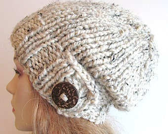 Slouchy Beanie Slouch Wool Hats Oversized Baggy Beret Button womens fall winter accessory Oatmeal Grey Super Chunky Hand Made Knit