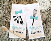 Personalized Kitchen Towels; Set of Two; Monogrammed Kitchen Towels; Bridal Shower Gift; Wedding Gift, Housewarming Gift, Kitchen Shower