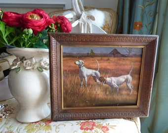 Vintage 1970's Pointer English Hunting dogs landscape Framed 10.5 X 12.5 X 2 inch print by artist Christie Printed signature Wall Art