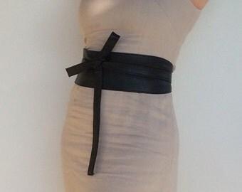 Black Leather Obi Belt - Unique Wide Wrap Belts - Women Tie Belts - Wraparounds Urnan Belts - Streetstyle