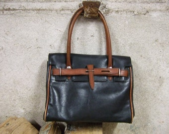 Vintage Leather Bag. Black with Tan contrast. Genuine leather. Brief Case.Travel Bag.