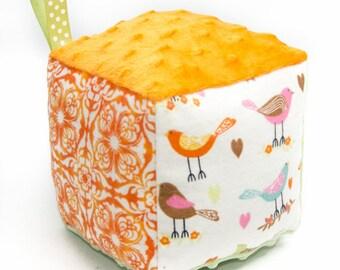 Soft Block Baby Toy - Orange and Green Birdies Block - Ready to Ship