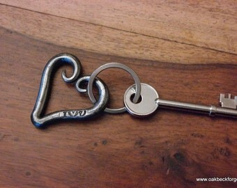 Key Ring - Heart I Love U - Valentines Day - Wedding - Anniversary - Blacksmith Hand Forged