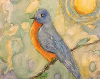 BLUEBERRY An Original Oil Painting by Artist Beth Capogrossi, Painting of Bluebird
