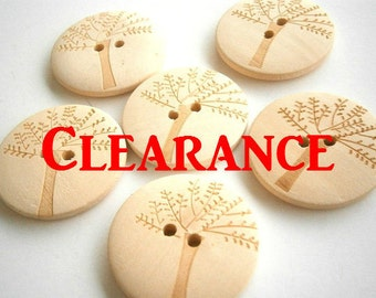 50 Tree Wood Buttons 30mm Wood Buttons ( 12 pieces)