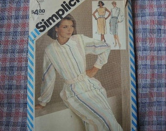 vintage 1980s Simplicity sewing pattern 6269 misses two piece dress with sleeve variations size 12