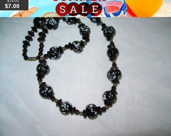 SALE Black and white swirl beaded bib necklace, statement necklace