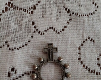 SALE 50% Off Rosary ring, vintage finger rosary