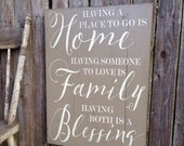 Home Family Blessing Rustic Distressed Pallet Style Sign Housewarming Gift 18x24