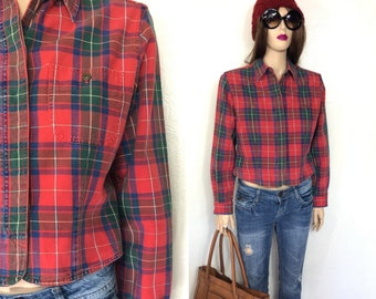 Vintage Flannel Shirt 90's Shirt Plaid Lumberjack Shirt Liz Claiborne Cropped Jacket Grunge Shirt Checkered Shirt Large 80's Shirt Medium