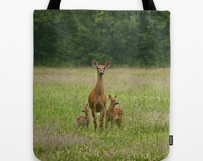 Doe with Twin Fawns, Photo Tote Bag, Photo Tote, Tote Bag, Photography, Travel Tote