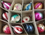 Vintage Shiny Brites, American made Christmas ornaments, funky, old, set of 12