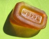 Amber beach glass, sea glass, Galveston, Texas, Gulf Coast, vintage glass