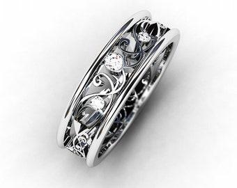 Diamond ring,  White gold wedding band, filigree ring,  Diamond wedding band, vintage style, unique, wedding ring, nickel free, engagement