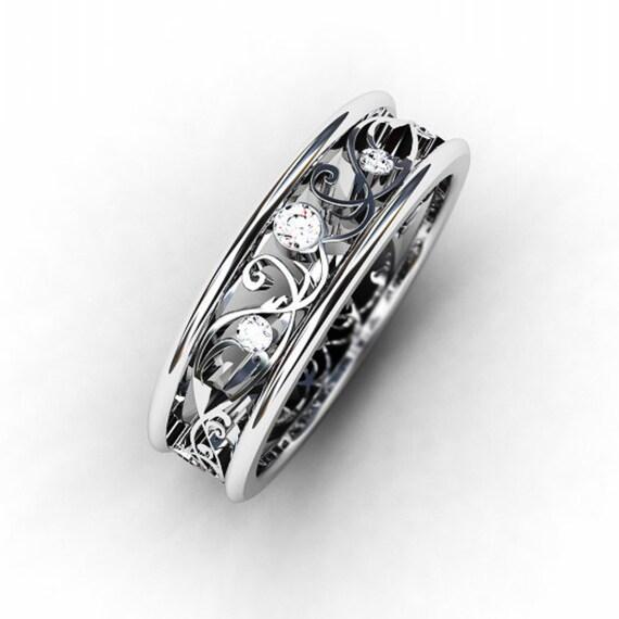 Filigree Ring Bands: Diamond Ring White Gold Wedding Band Filigree Ring